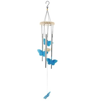 Hot Selling Wholesale Welcome Butterfly Decoration Top And Metal Wind Chime Pipe
