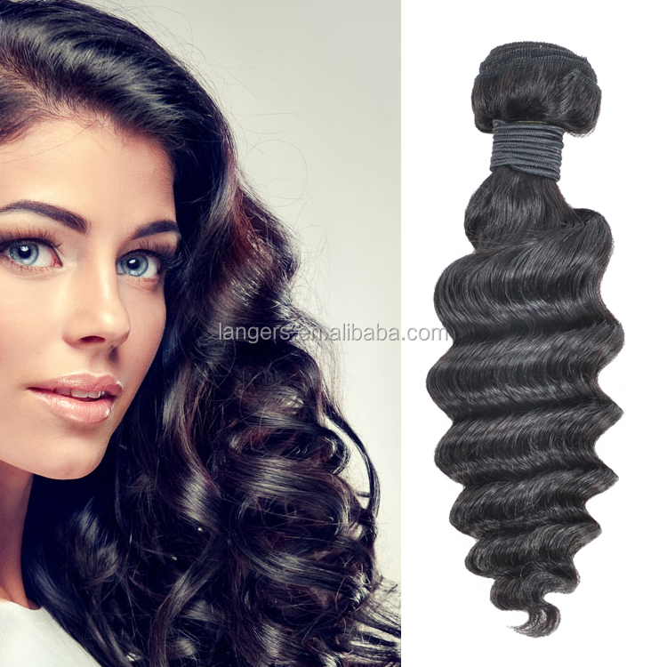 Overseas Products Deep Wave Peruvian Hair 3 Bundles 300g Human Hair Weave Extensions 14 16 18inches Natural <strong>Black</strong>
