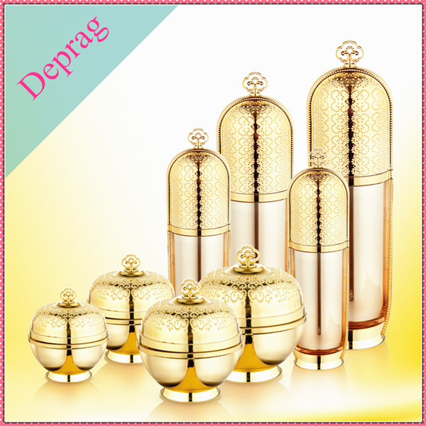 new imperial crown type da vinci cosmetics containers,plastic bottle cosmetic containers,50ml gold cosmetic container