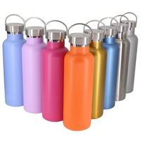 2018 Amazon Hot Sale Double Wall Stainless Steel Water Bottle with metal handle