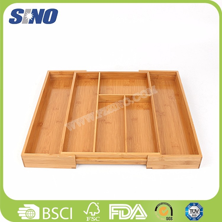 China Healthy Bamboo Expand Cutlery Drawer Organiser