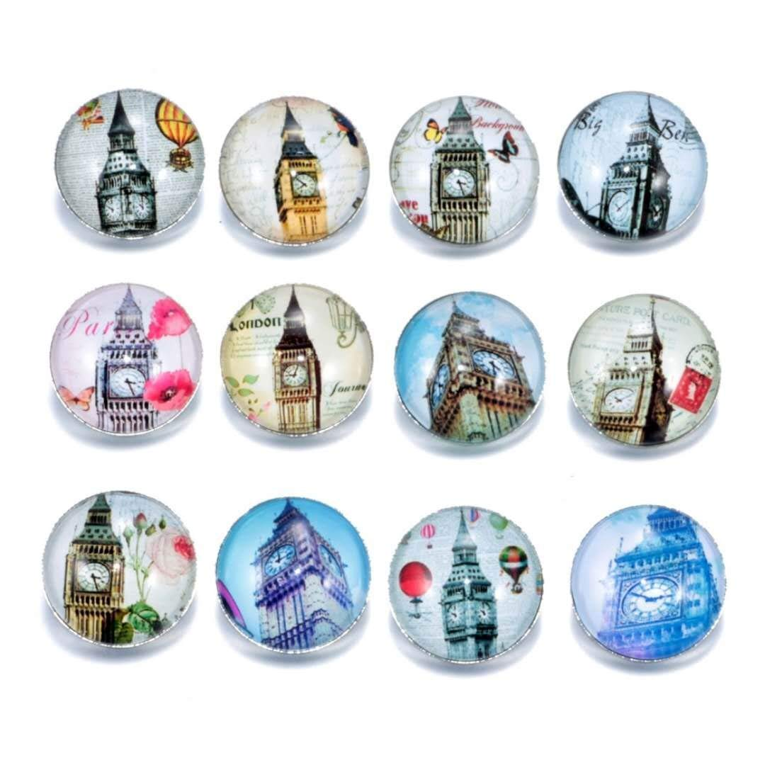 DH Love 18mm Mixed 12pcs Love Clock London Big Ben Snap Button Charms for Women Office Jewelry