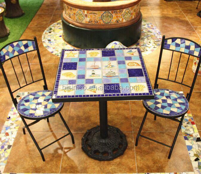 Table De Jardin En Fer Forgé Et Des Chaises,Mosaïque En Céramique ...