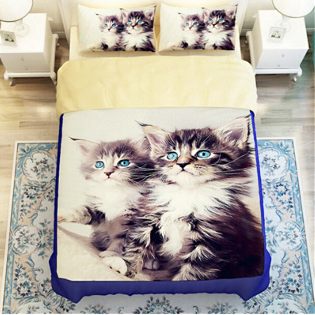 Bobbycool 3D Two Cats Bedding Sets Comforter Black Gray Cotton Kids Bed Sheet Bed Cover Pillow Sets