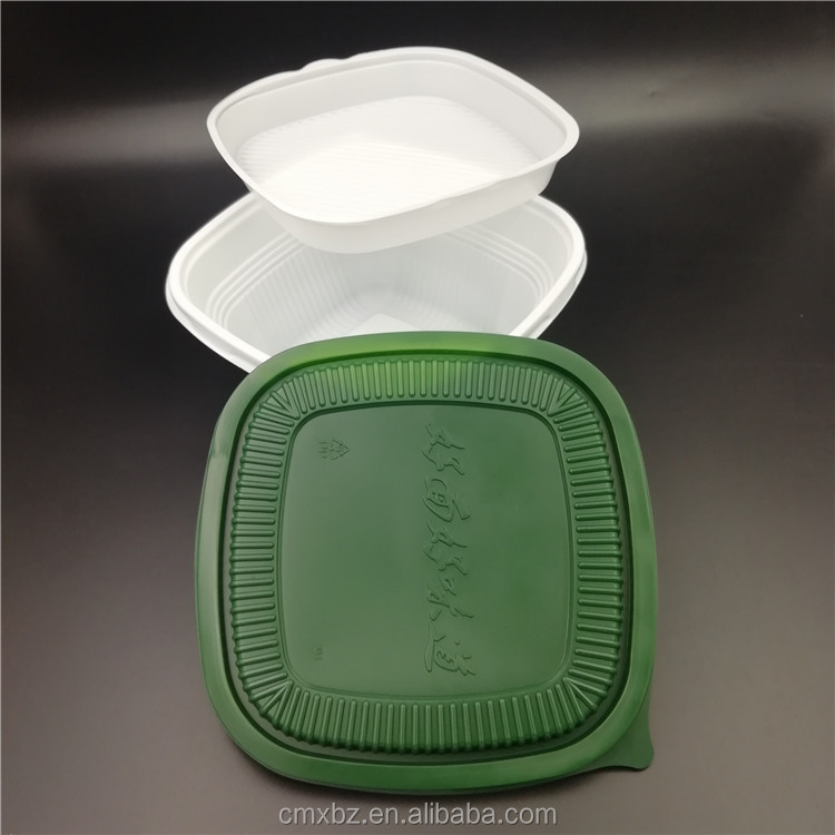 Microwavable double layer rice salad food bowl packaging plastic bowl