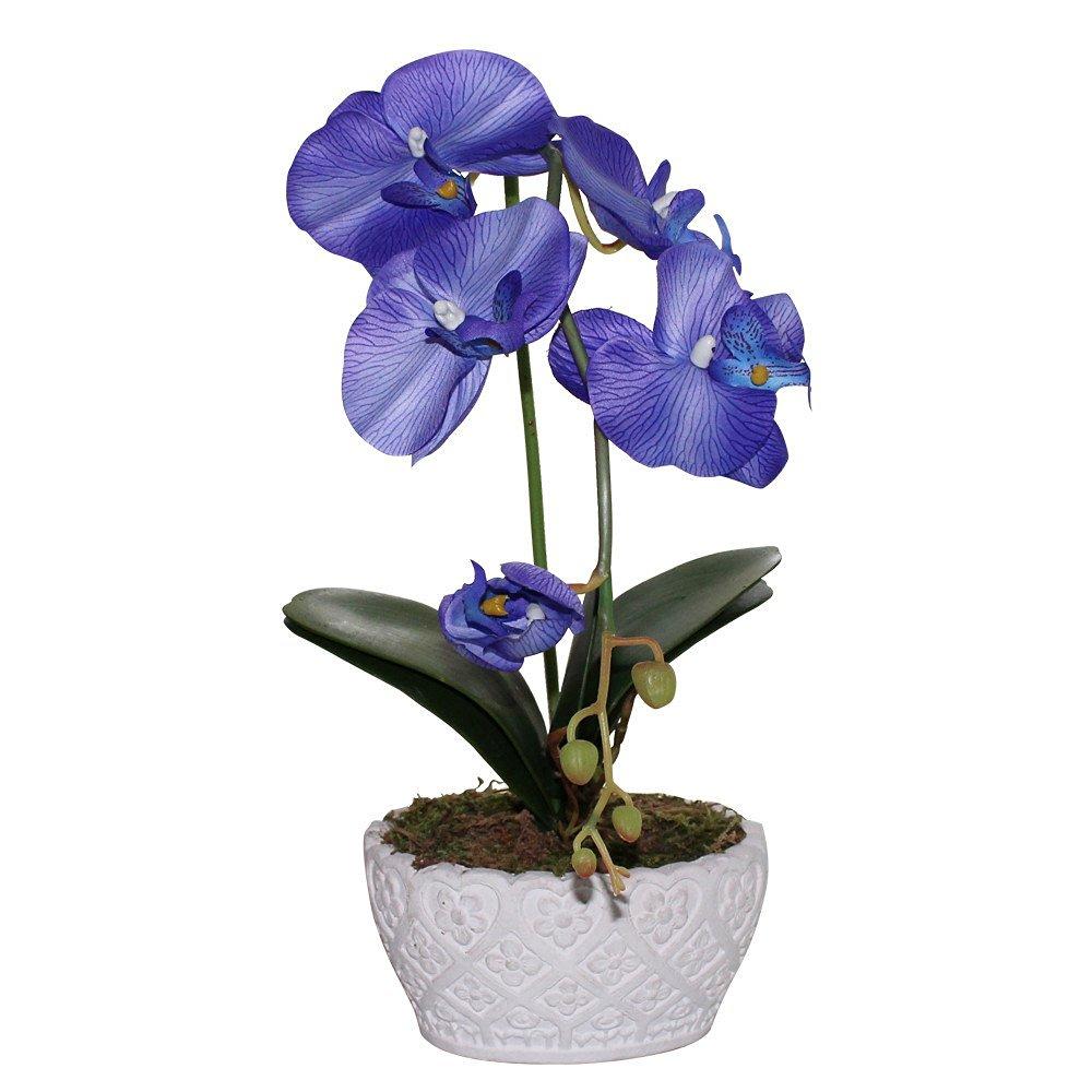 """Huazhiwu 14"""" Silk Decor Phalaenopsis Artificial Flowers Single Orchid Floral Arrangements 3314, Blue"""