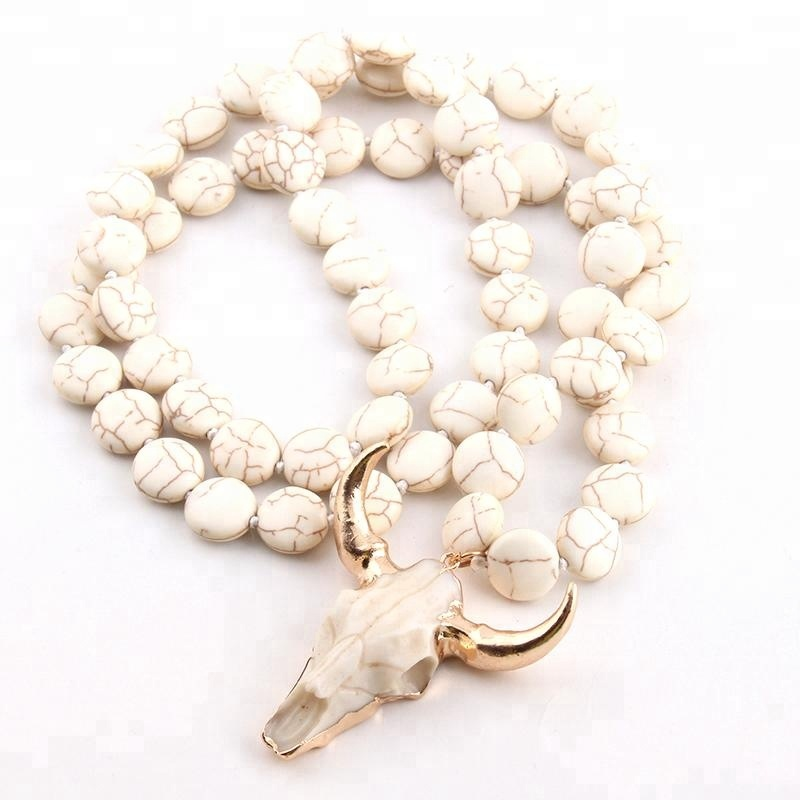 Fashion Bohemian Beige Flat Beads Knotted Bull head Pendant Necklace jewlery necklace