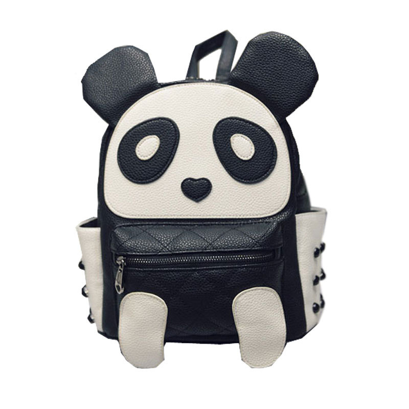 Fashion Lovely Cute Panda Backpack Pu Leather Cartoon School Bag For Teenager Girl
