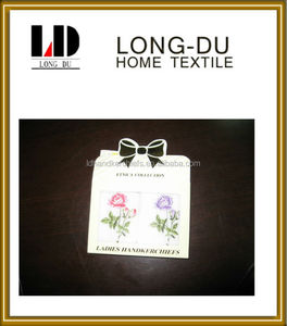 pure cotton embroidery white boxed handkerchief