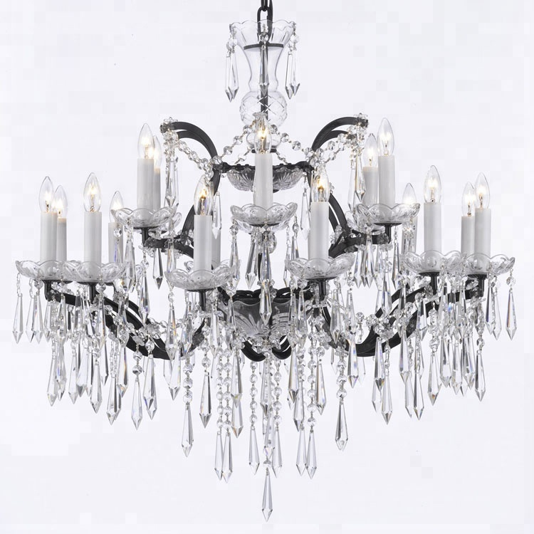 Home Decoration Luxe Cristal Licht Black Metal + Clear Crystal Lampen Moderne Slaapkamer Opknoping Hotel Lobby Verlichting CZ2578/18
