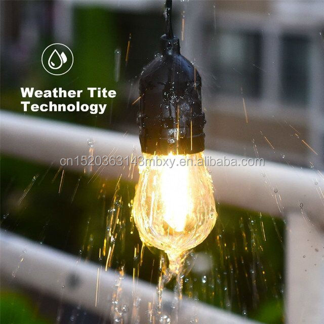 Trade assurance Custom String light supplier, Commercial string lighting, Patio string LED S14 bulb + Black wire