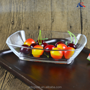 "Wholesale Glassware Lead Free 7"" Rectangle Shape Flat Glass Bowl"