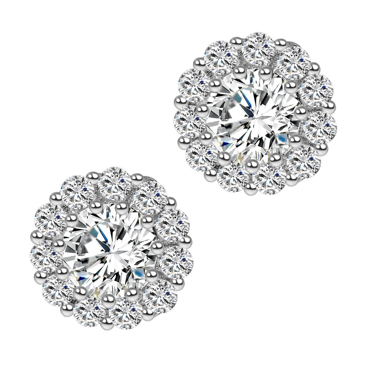 3df25ca0a Cuccu Cubic Zirconia Stud Round Flower Earrings Silver Tone 9MM for Women  and Girls Fashion Jewelry