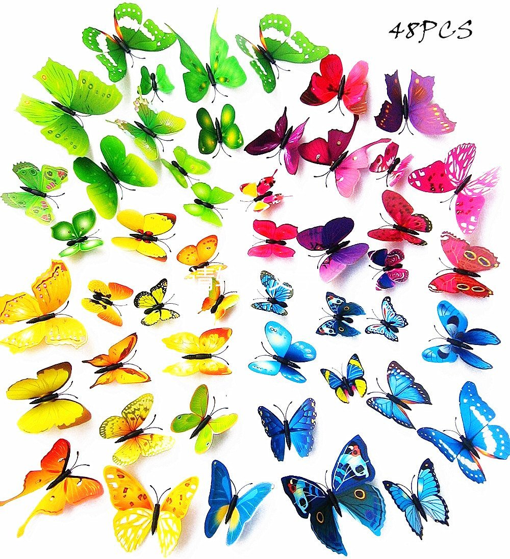 A Little Lemon 48 PCS multicolored 3d Butterfly Wall Stickers Decals ,12pcs Purple 12pcs Blue 12pcs Yellow 12pcs Green,Durable Plastic Butterfly Decorations,wall Decor