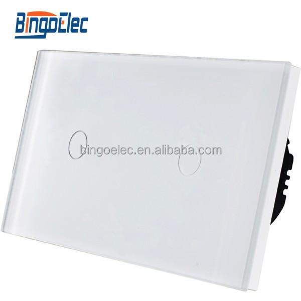 Eu Uk Type Modern Light Switch 2 Gang 1 Way Capacitive Touch