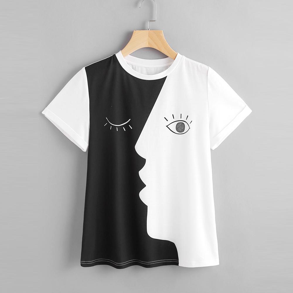 800bb30d77f Alibaba Fashion New Design Trending Women Abstract Face Print Roll Sleeve Half  Black Half White T Shirt