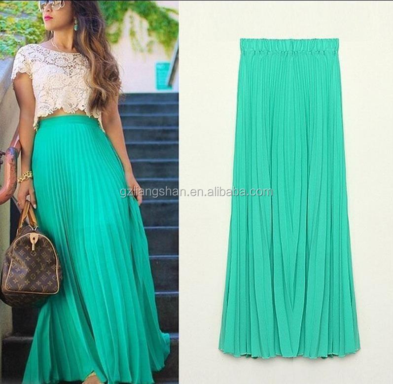 d236df8b06 Faldas Moda 2015 OEM personalizada verano suelta Falda larga gasa transparente  falda Maxi