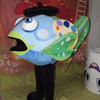 Newly finished custom blue fish mascot costume for sale