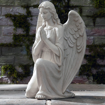 Church Sculpture Life Size Natural Marble Stone Praying Lady Angel Garden  Statue