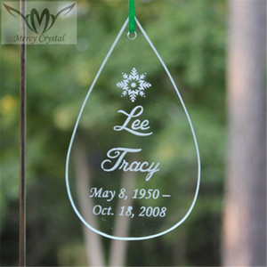 Clear Glass Hanging Teardrop Ornament For Personalized Memory Engraved