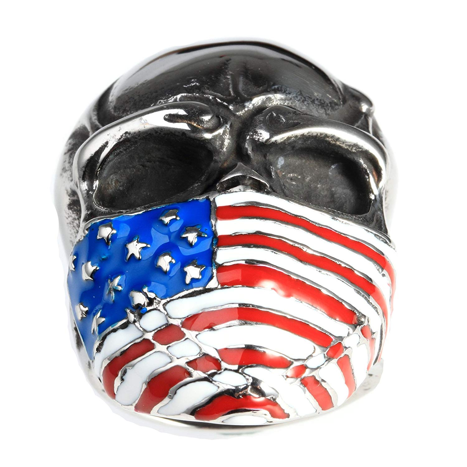Beydodo Necklace for Men Stainless Steel Native American Indian Chief Skull Pendant Hip Hop Necklaces for Men