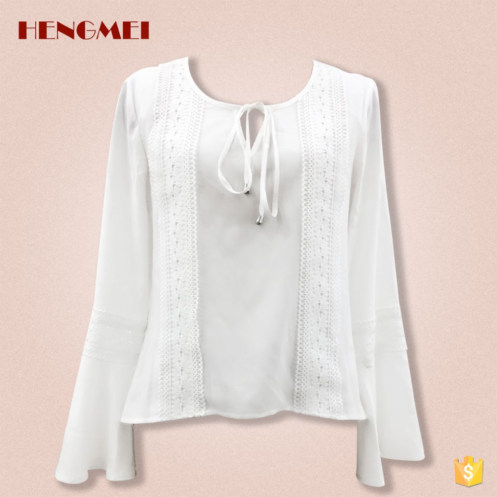 7f0d053e02f151 2017 Fashion clothes fancy women white tops 3 4 sleeve chiffon blouse and shirt  for
