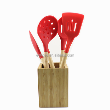 Hot Sell 5pcs Silicone Kitchen Utensil Set Wooden Handles With Holder