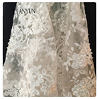Hot Sale White 3d Flower Bridal Fancy Lace Fabric Wholesale With Stone