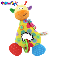 BobearToys wholesale fabric cotton educational toys guangzhou cartoon giraffe plastic baby rattle toys silicone toys for kids