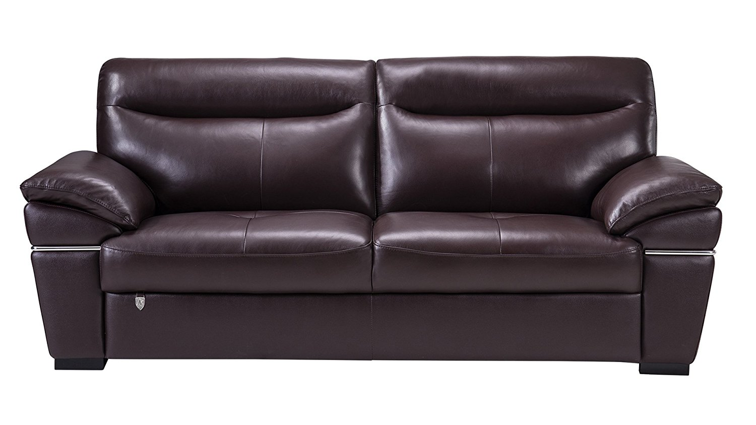 American Eagle Furniture Morris Collection Italian Leather Living Room Couch with Stainless Steel Trim, Dark Brown