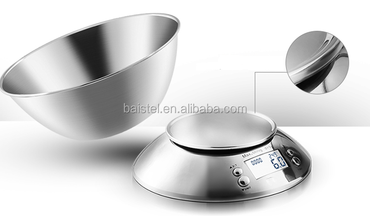 Multifungsi Digital Kitchen Food Scale dengan Removable Bowl 2L