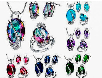 925 Sterling Silver Jewelry Set Wedding Love Oval Blue Sapphire Red
