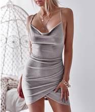 Сексуальное асимметричное платье на тонких бретельках с открытой спиной, на шнуровке, платья с гамаком, облегающее Клубное платье, женские ...(Китай)