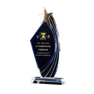 Top quality gold plating star crystal trophy souvenir customized glass award crafts new desgin crystal awrd cup business gifts