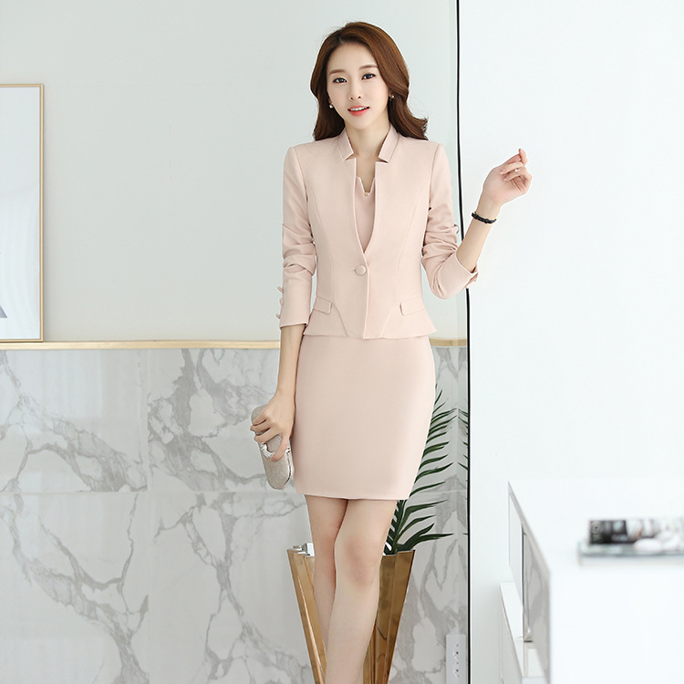2017 casual sexy mode lange mouw 2 stuks vrouwen office lady suits