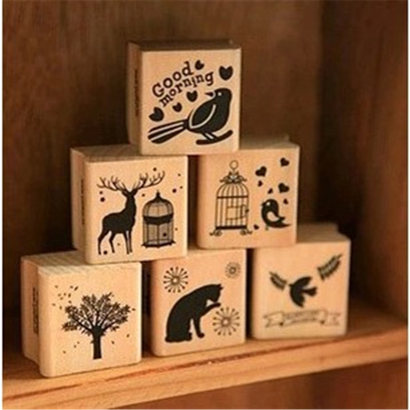 Diary Photo Album Scrapbooking Stationery DIY Cute Kawaii Wooden Stamp Animal Cat Dog Bird Tree Stamps Set