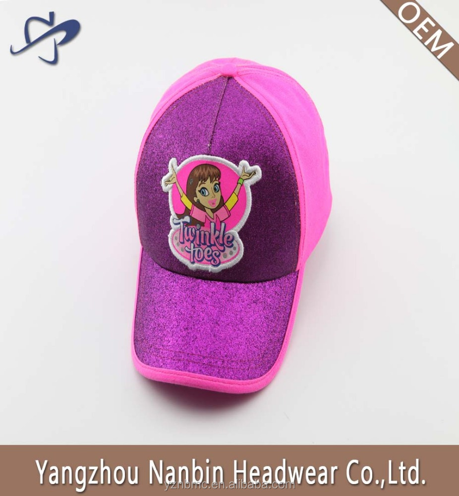 Hot sale fashion 5 panel glitter baseball cap with applique embroidery and velcro closure