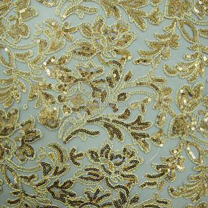African net embroidery sequin cord lace fabric beaded sequined lace fabric