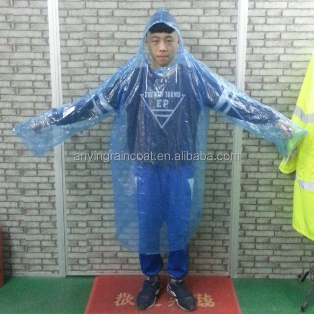 Plastic rain poncho pattern waterproof fabric disposable PE raincoat