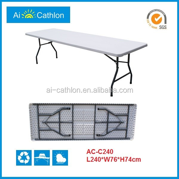 240cm 8ft Folding Banquet Table HDPE Plastic Long Buffet Table Foldable Catering Table