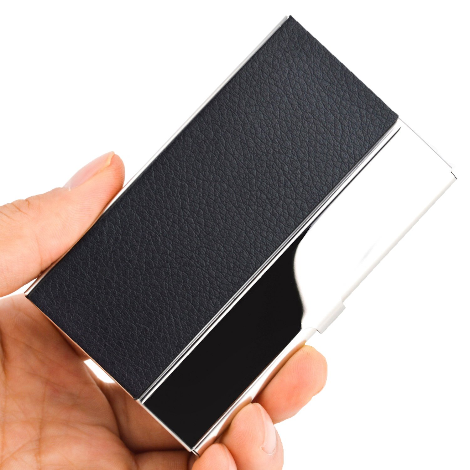 MaxGear Business Card Holders Business Card Case Stainless Steel Card Holder Metal Card Organizer Keep Business Cards in Immaculate Condition Clemence Black