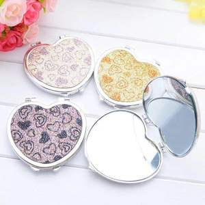 Rhinestone Jewel Double Sided Bling Custom Alloy Compact Cosmetic Mirror With Logo