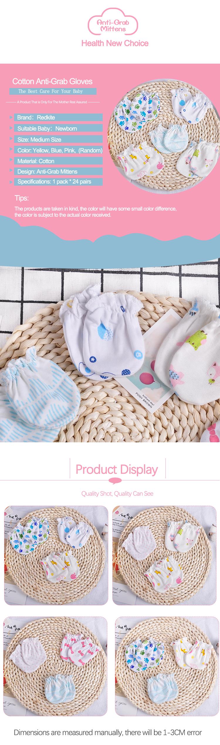 24 Pares de Bebê Recém-nascido de Algodão Luvas Sem Luvas Zero Para 0-6 Meses Meninos Meninas