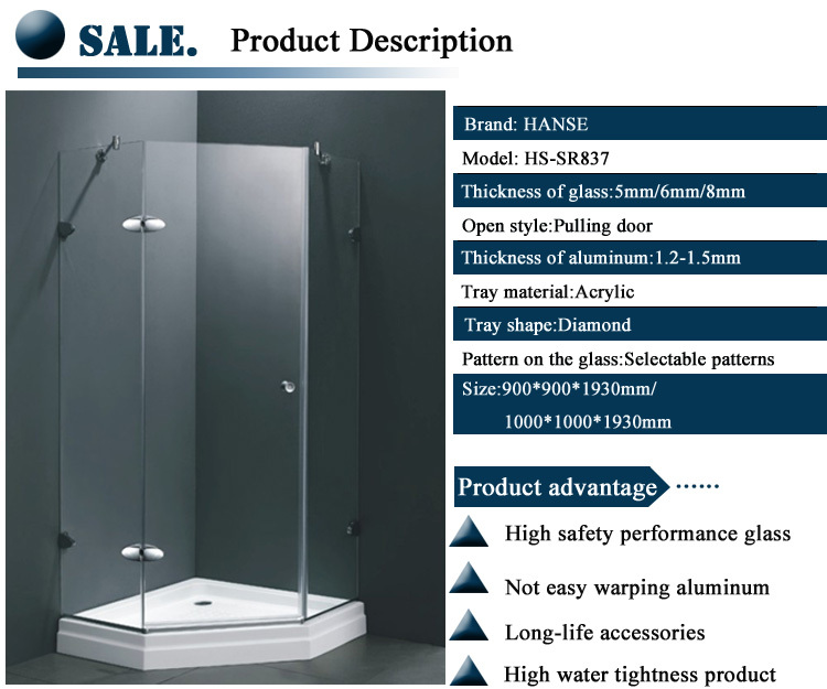 big shower enclosure/ tinted shower bath cubicle/ shower glass enclosure