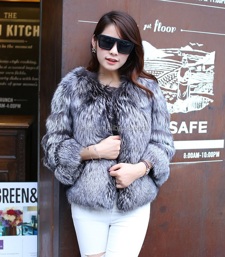 Hot Sale Wholesale Slive Fox Fur Coat,Real Fur Jacket For Lady ...