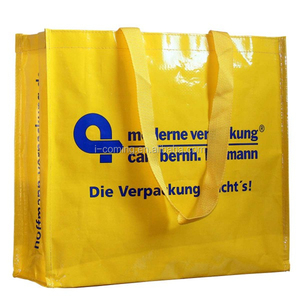 Glossy laminated gold pp non woven big shopper bags/flat gloss image non woven shopping bag with zipper