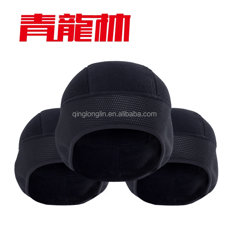 Custom Winter Windproof Fleece Black Beanie Running Hats Skiing Hats Keep Warm with Earflap Warmers