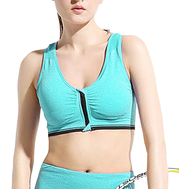 8fcba604b7 Get Quotations · ainr Women s Yoga Sports Bras Gym Yoga Top Zipper Front  Breathable Bras Double Wear Bra