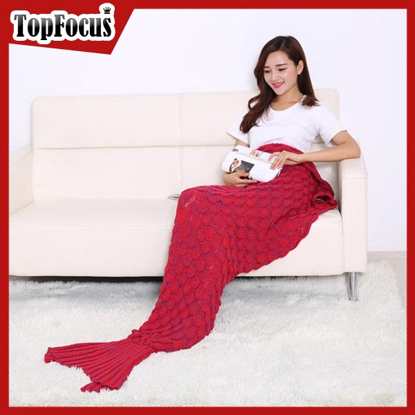 Custom Acrylic Knitting Adult Mermaid Tail Blanket Pattern