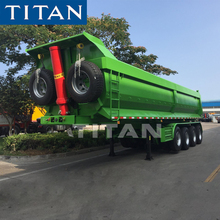 4 Fuwa axles hydraulic dumper trailer 40 cubic meter end tippers rear end U shape tippers for the transport of coal